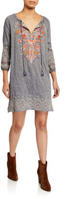 Johnny Was Plus Size Ellington Embroidered Peasant Dress w/ Slip