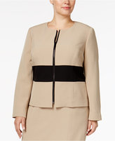Kasper Plus Size Colorblocked Crepe Blazer