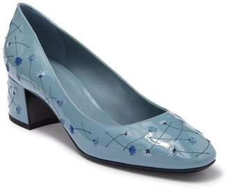 Bottega Veneta Embroidered Floral Patent Block Heel