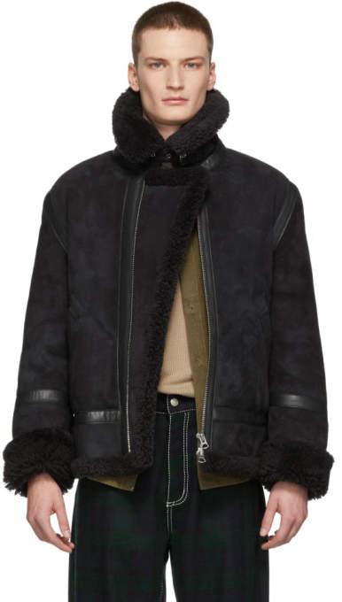 Acne Studios Black Shearling Ian Aviator Jacket