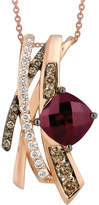 LeVian Le Vian Raspberry Rhodolite Garnet (2-3/4 ct. t.w.) and White and Chocolate Diamonds (5/8 ct. t.w.) Pendant in 14k Rose Gold, Created for Macy's