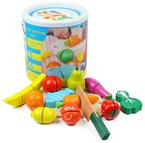 Youtop Wooden Cutting Fruits and Vegetales Toy Playset Pretend Play for Kids w/ Container
