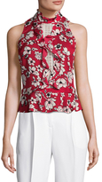 Tracy Reese Silk Floral Print Flounce Blouse