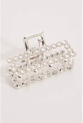 Quiz Silver Diamante Rectangle Hair Clasp