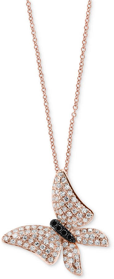 Effy Diamond Butterfly Pendant Necklace (1/2 ct. t.w.) in 14k Rose Gold