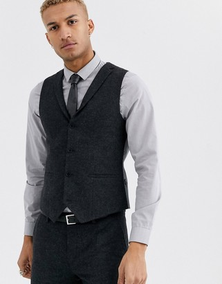 Twisted Tailor suit vest in dark gray