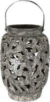 Casa Uno Tall Ornate Candle Holder, Raw Black