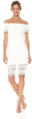 Bebe Women's Missy White Lace Off-The Shoulder Dress with Ruffle Sleeve