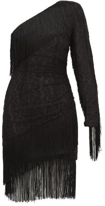 Dundas Fringed One-shoulder Cotton-blend Lace Mini Dress - Black
