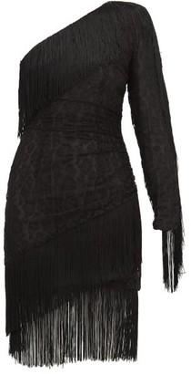 Dundas Fringed One-shoulder Cotton-blend Lace Mini Dress - Womens - Black