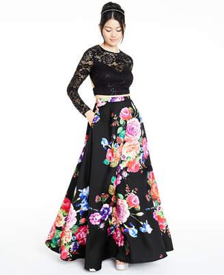 B. Darlin Juniors' 2-Pc. Lace & Floral-Print Gown