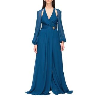 Roberto Cavalli Dress Long Dress In Cut Out Silk