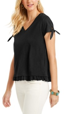 Style&Co. Style & Co Petite Tie-Cuff Ruffled Top, Created for Macy's