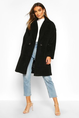 boohoo Luxe Brushed Wool Look Button Through Coat