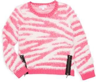 Design History Little Girl's Zebra Print Textured Sweater
