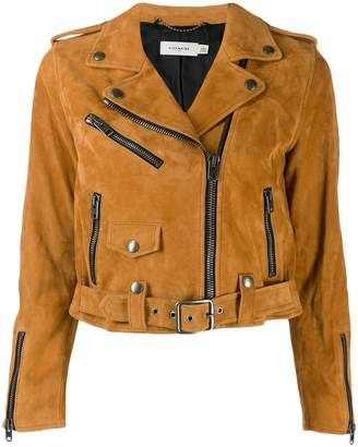 Coach cropped leather jacket