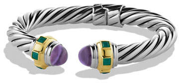 David Yurman Renaissance Bracelet with Amethyst, Green Onyx, and Gold