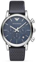 Emporio Armani Luigi Perforated Leather Strap Watch, 41mm
