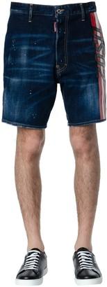 DSQUARED2 Blue Denim Striped Logo Shorts