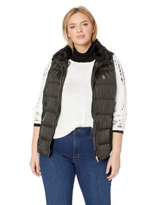 U.S. Polo Assn. Women's Plus Size Faux Fur Collar Zip up Vest