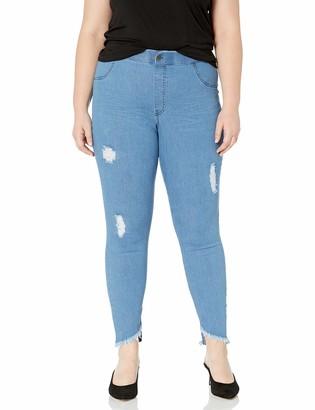 Hue Womens Plus Size Angled Hem Denim Skimmer Leggings (Stonewash - Solid 1X)