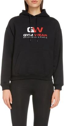 Balenciaga Gym Wear Logo Fitted Cotton Hoodie