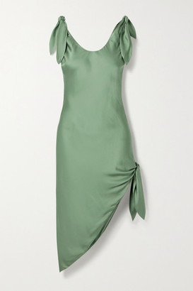 Cult Gaia Delilah Knotted Satin Dress - Green