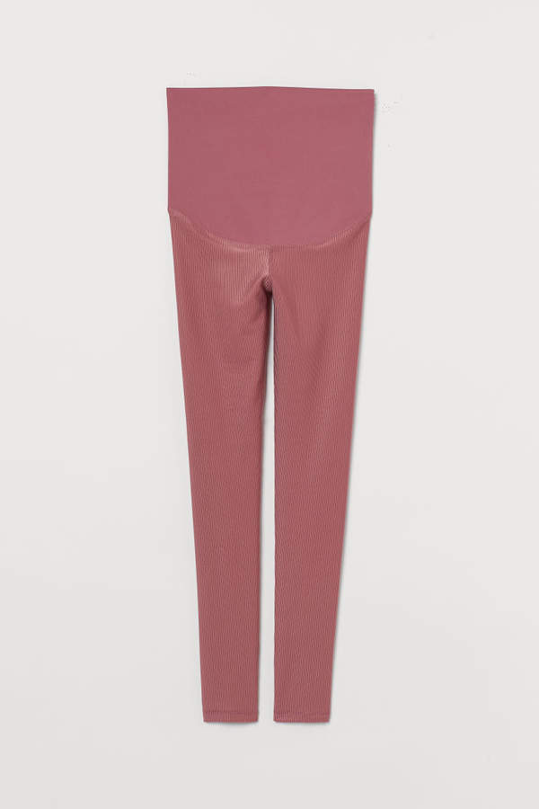 H&M MAMA Ribbed Sports Leggings - Pink