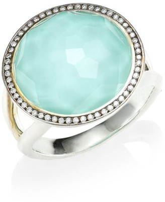 Ippolita Silver Rock Candy Diamond, Turquoise Doublet & Sterling Silver Ring