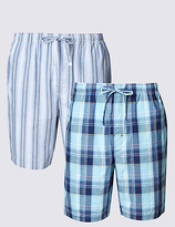 M&S Collection 2 Pack Pure Cotton Assorted Pyjama Shorts