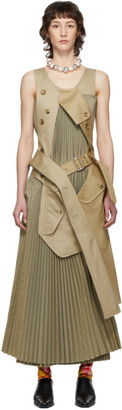 Junya Watanabe Beige and Green Pleated Trench Dress