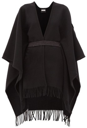 Moncler Logo-patch Belted Wool Poncho - Black