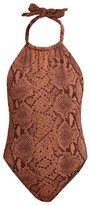 Mara Hoffman Dominique Snake-print Halterneck Swimsuit - Womens - Brown