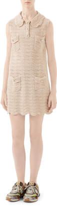 Gucci Collared Crochet Wool Dress