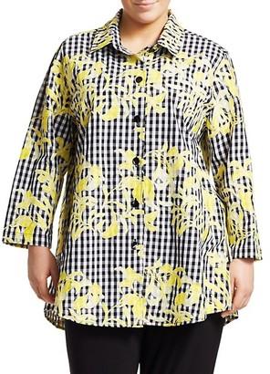 Caroline Rose, Plus Size Embroidered Gingham Shirt