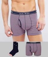 Jack Wills Albyfield Trunk & Sock Gift Set in Pink/Navy