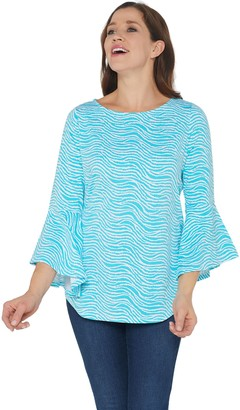 Belle by Kim Gravel TripleLuxe Knit Wave Print Bell Sleeve Top