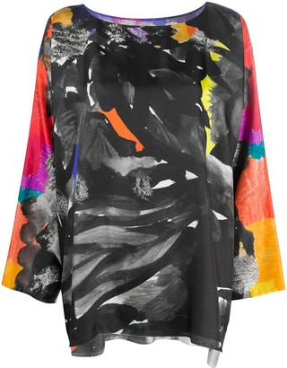 Daniela Gregis Abstract-Print Silk Blouse