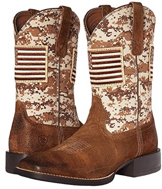 Ariat Sport Patriot (Antique Mocha Suede/Sand Camo Print) Cowboy Boots