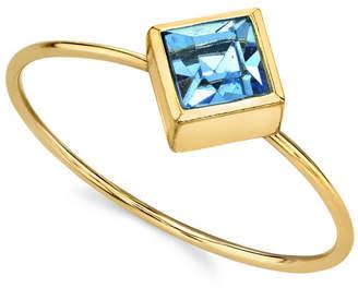 2028 14K Gold Dipped Diamond Shaped Crystal Ring