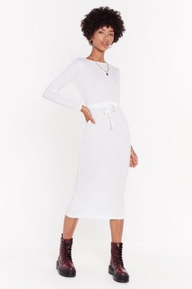Nasty Gal Womens Draw Cord Waist Midi Dress - Cream - 6, Cream