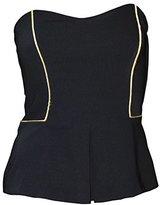 Rachel Roy Women`s Blouse Gold Trim Strapless Bustier Top (Black