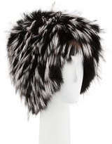 Gigi Burris Narcissa Fox Fur Cap, Black/Silver