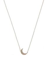 Andrea Fohrman Mini Crescent Moon Necklace White Diamonds 18k Yellow Gold