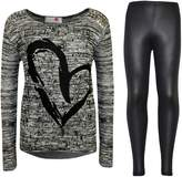 a2z4kids Kids Girls HEART Printed Trendy Top & Stylish Fashion Legging Set Age 7-13 Years
