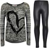 a2z4kids Kids Girls HEART Printed Trendy Top & Stylish Fashion Legging Set Age 7