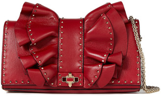 Valentino Very V Ruffled Leather Shoulder Bag