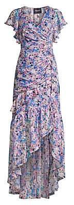 Shoshanna Women's Elnora Floral Silk-Blend Ruched Asymmetric High-Low Dress - Size 0
