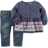 Carter's 2-Pc. Printed Babydoll Top & Jeans Set, Baby Girls (0-24 months)
