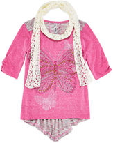 Knitworks Knit Works 3/4-Sleeve High-Low Graphic Top with Scarf - Girls 7-16